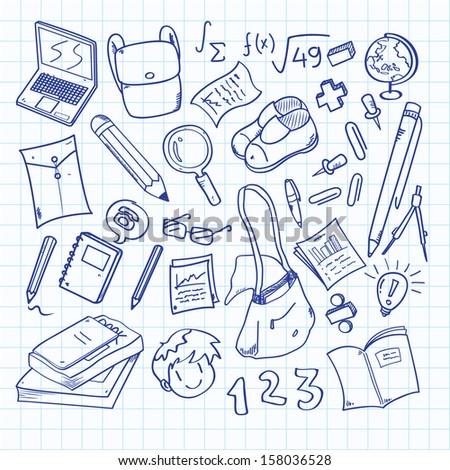 back to school doodle - stock vector