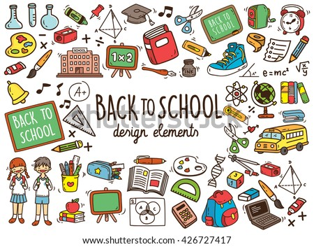 Back to school doodle elements - stock vector