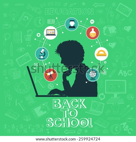 Back to school - doodle set, colored icons flat. Online education concept, silhouettes of students. Hand drawn vector illustration. - stock vector