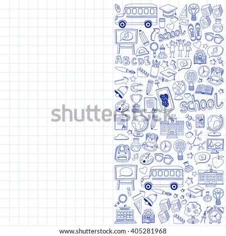 Back to School doodle set. Linear icons - stock vector
