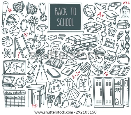 Back to School doodle set. Various school stuff - supplies for sport, art, reading, science, geography, biology, physics, mathematics, astronomy, chemistry. Vector isolated over white background. - stock vector