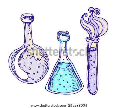 Back to school: Doodle style science laboratory beakers and test tubes illustration in vector  - stock vector