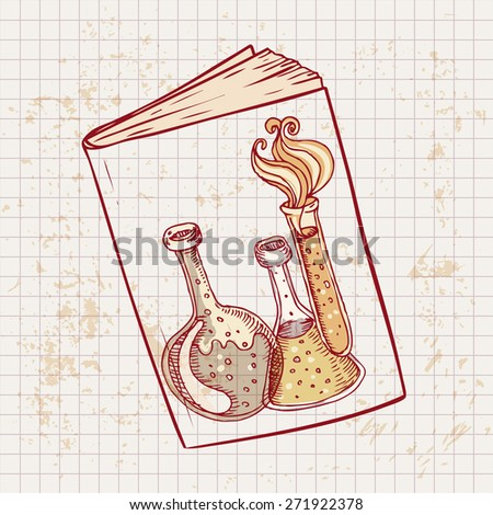 Back to school: Doodle style science laboratory beakers and test tubes illustration on a book's cover in vector - stock vector