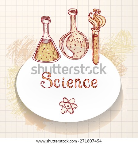 Back to school: Doodle style science laboratory beakers and test tubes illustration. Vector frame - stock vector