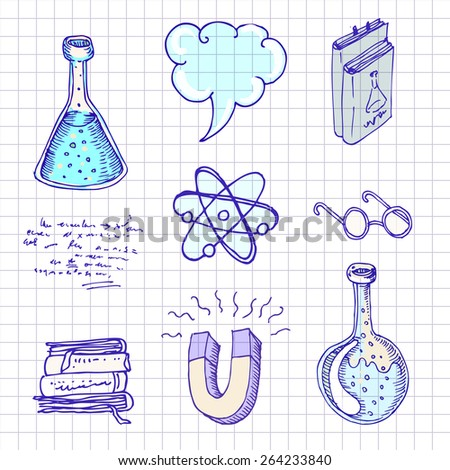 Back to school: Doodle style science laboratory elements vector illustration.  - stock vector