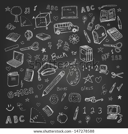Back to school doodles in chalkboard background - stock vector