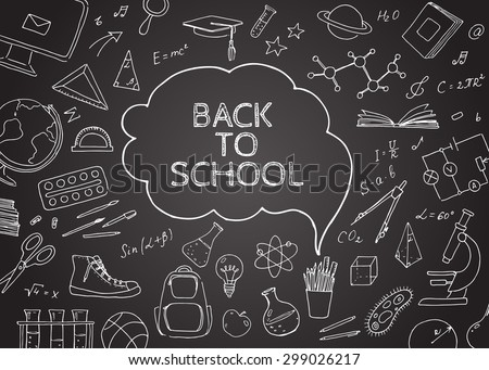 Back to school doodles in chalkboard background. Vector  hand drawing icons. Linear illustration.  Back to School. Chemistry, mathematics, astronomy, music, sports, drawing, geometry, physics.
