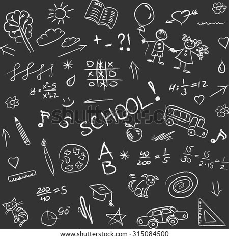Back to school doodles on blackboard, seamless pattern. Vector illustration - stock vector