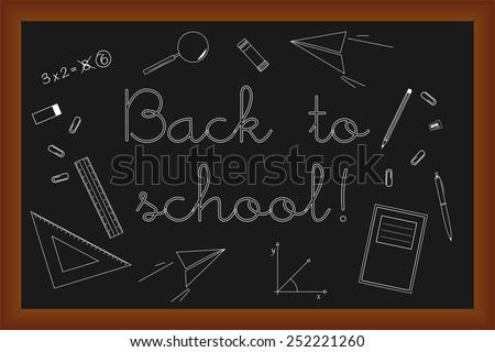 Back to school doodles set on black board, vector illustration design elements  - stock vector