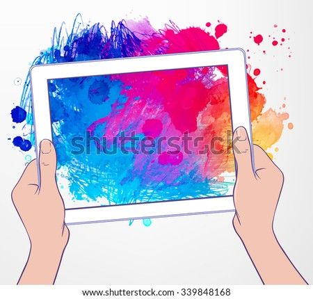 Back to School: e-learning technology concept with hands holding a tablet portable computer gadget with abstract sketchy composition, vector and watercolor illustration isolated on white.