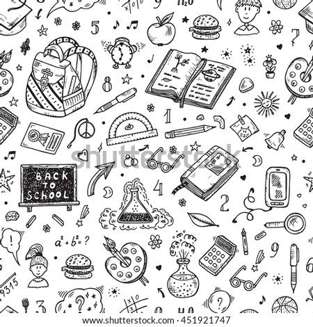 Back to school. Education items. Hand Drawn Doodle school supplies Vector Seamless pattern