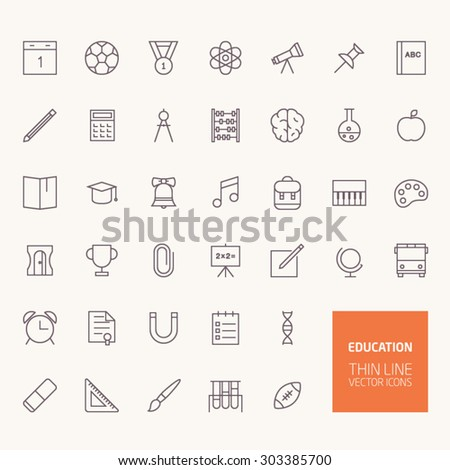 Back to School Education Outline Icons for web and mobile apps - stock vector