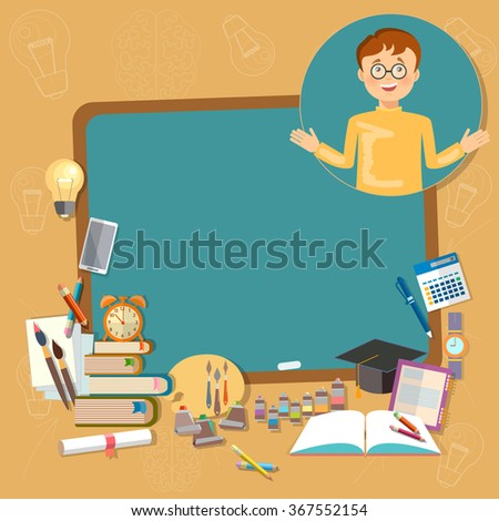 Back to school education school board schoolboy classroom vector illustration - stock vector