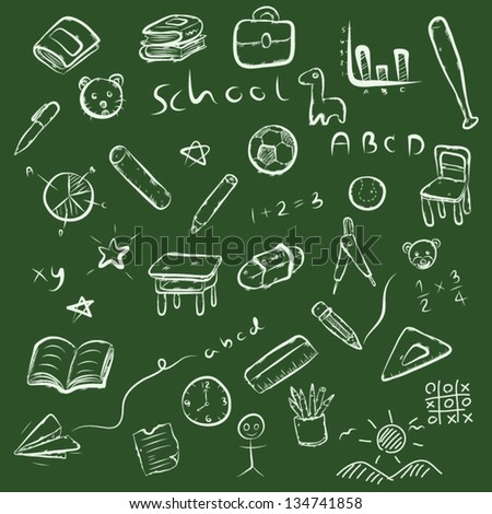 back to school / education set, vector cartoon, white line art isolated on white background, illustration - stock vector