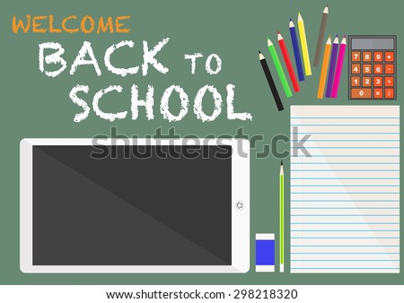 Back to school education work table template with flat vector background