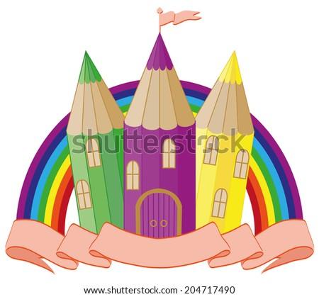 Back to School. fabulous school castle. vector illustration - stock vector