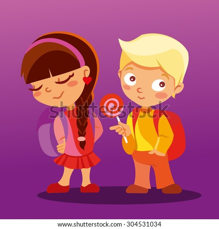 Back to school. First love at school. Couple of beloved pupils,boy and girl. Cute boy giving a gift for little beautiful girl. Be my Valentine. Vector illustration - stock vector