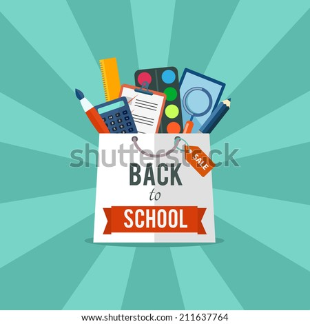 Back to school flat illustration. eps10 - stock vector