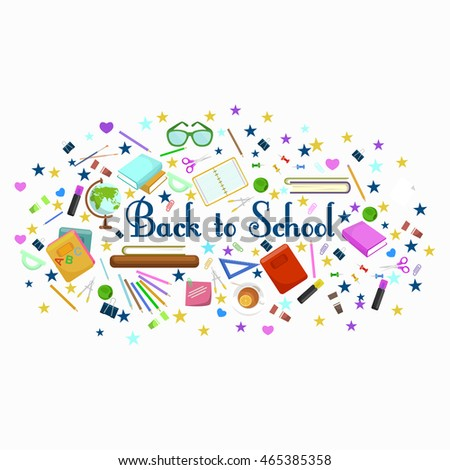 Back to school flat style background created from school supplies, study concept with school supplies and accessories, classroom equipment. back to school and children education concept vector