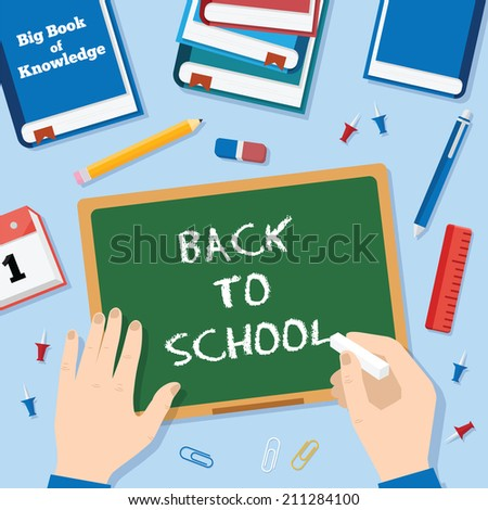 Back to School Flat Style Vector Background With Chalk Blackboard Pins Clips Pen Pencil and Books - stock vector