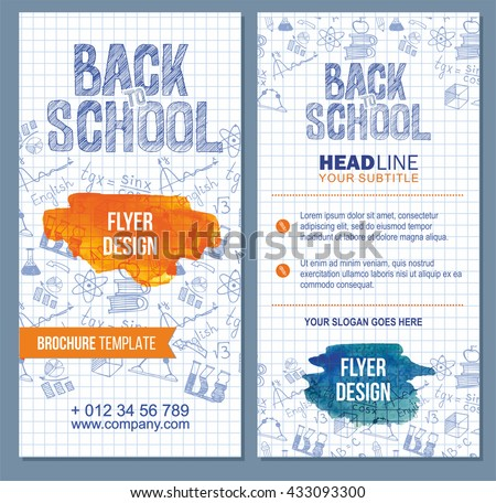 Back School Flyer Template Different Objects Stock Vector 2018