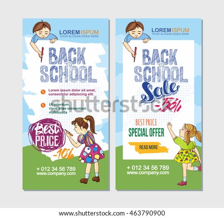 Back School Flyer Template Hand Drawn Stock Vector