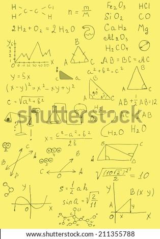 Back to school formulas. Hand drawn illustration. - stock vector