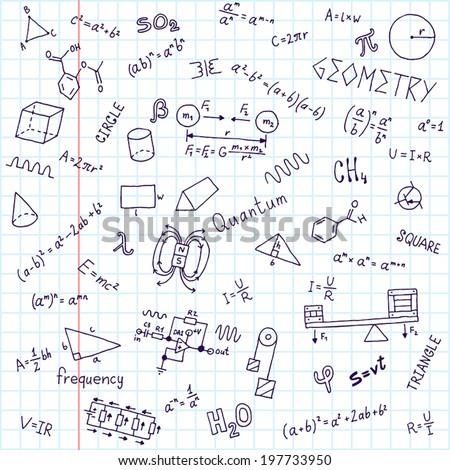 Back to school formulas notebook. Hand drawn vector illustration. - stock vector
