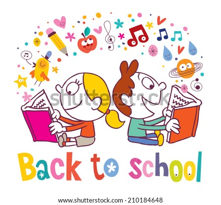 Back to school girl and boy reading books - stock vector