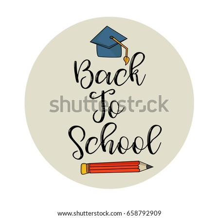 Back school greeting card flyer template stock vector 658792909 back to school greeting card or flyer template hand draw vector illustration typography script m4hsunfo