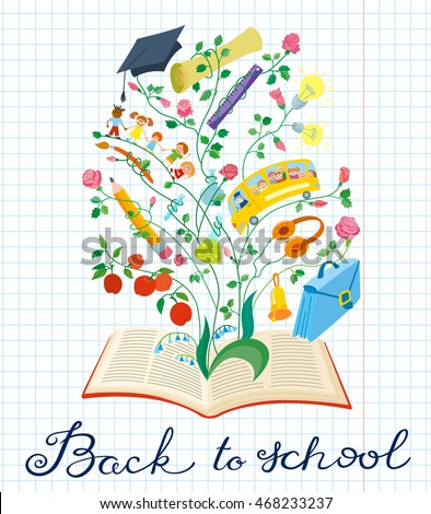 Back to school hand drawing calligraphy lettering. Educational background with paper backdrop with books, clip, ruler, pen, pencil, shcoolbag, bell, notebook, children, bus and apple, children's style