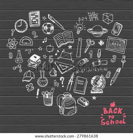 Back to school hand drawn doodle elements it the shape of a heart.