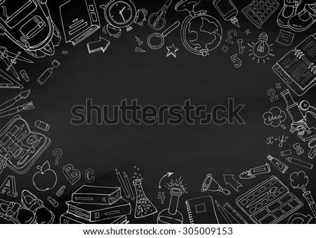 Back School Handdrawn Doodles Blackboard Background Stock ...