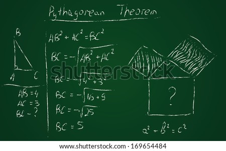 Back to school hand drawn pythagorean theorem - stock vector