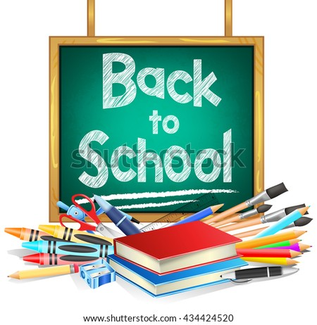 Back to School Hanging Green Chalkboard with School Items on White Background. Vector Illustration  - stock vector