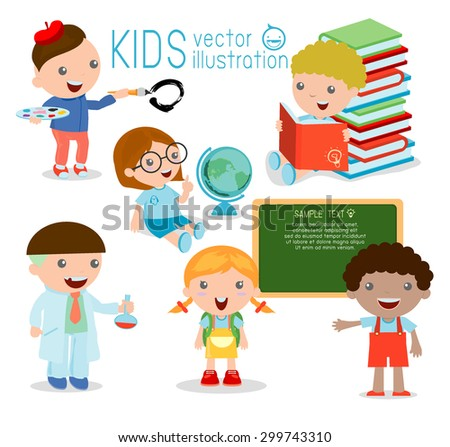Back to school. happy cartoon kids in classroom, biology, botany, chemistry, drawing.  Wrote in chalk on blackboard,  happy  kids , child,Vector Illustration - stock vector