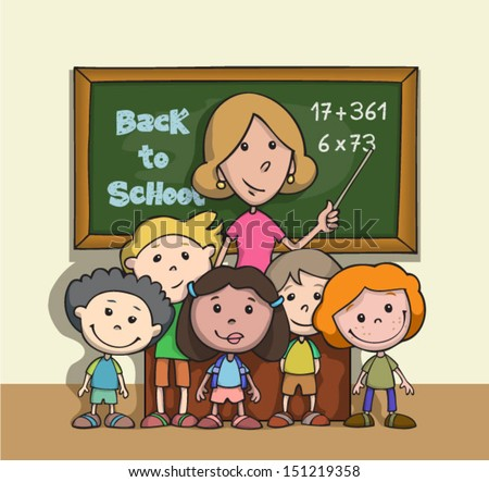 Back to school. Happy children at school classroom with teacher. Cartoon. - stock vector