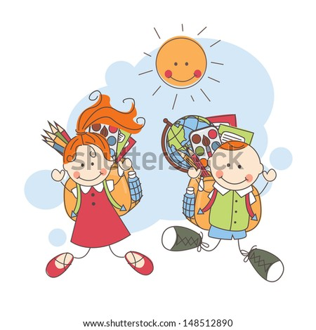 Back to school. Happy children jumping . Colorful vector illustration - stock vector