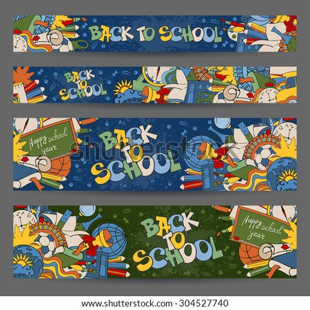 Back to School horizontal banners with hand drawn doodle stationery and other school subjects. Proportions - standard for web. Vector illustration. - stock vector