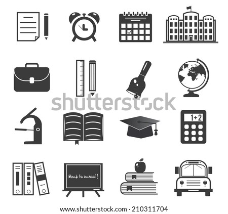 Back to school icon set on white - stock vector
