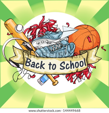 Back to School icon with ribbon banner and sample text. - stock vector