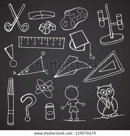 Back To school Icons on black background. - stock vector