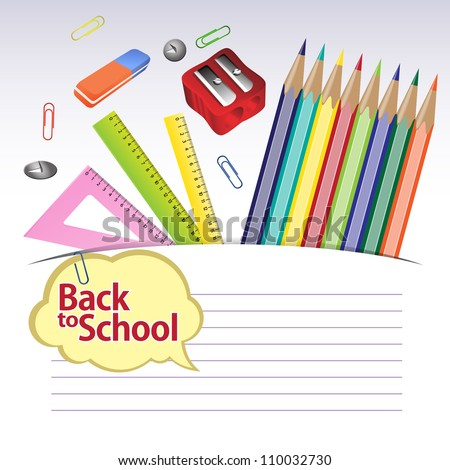 Back to school. Illustration of education object on white background. Grouped for easy editing. In gallery other options are also available. - stock vector