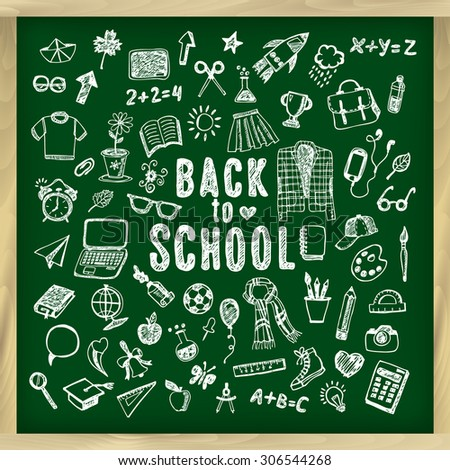 Back to school illustration. Sketch chalk set. - stock vector