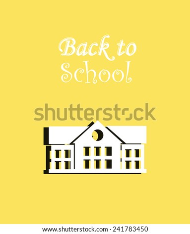 back to school illustration, white facade over color background - stock vector