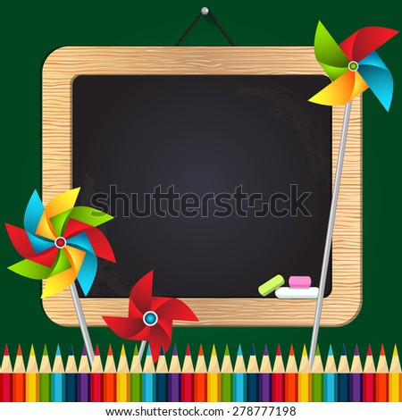 Back to school illustration with chalk board, colored pencils, weather vanes - stock vector