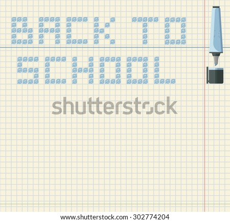 Back to school image with color marker. Vector image with notepad  in a cage background. - stock vector