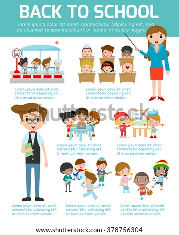 Back to school Infographic, School infographics element, Education infographic, Creativity,  idea, students, Back to school set with charts and other elements. learning, Vector illustration, - stock vector