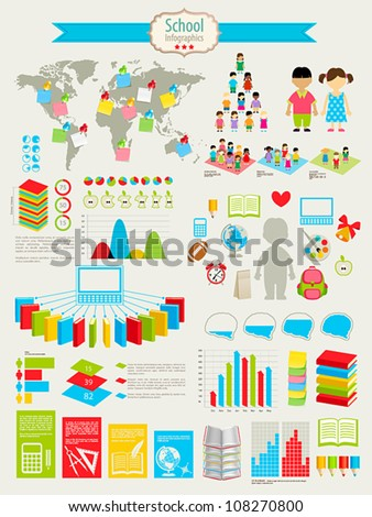 Back to school Infographic set with charts and other elements. Vector illustration. - stock vector