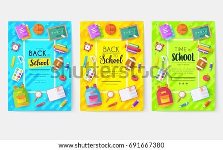 back school information cards set student のベクター画像素材